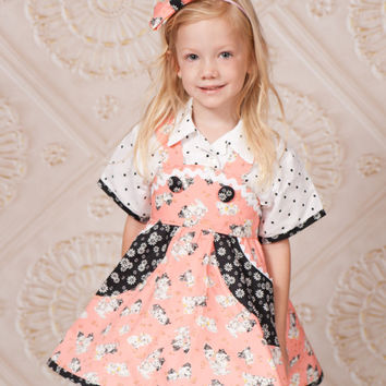 Skater Skirt - Little Girls Outfit - Circle Skirt - sizes 2T to 10 years - Birthday Outfit - Girls Blouse - Little Girl Dress