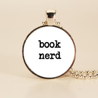 Book Nerd Reader Charm Necklace by TheWhiteSpace on Etsy