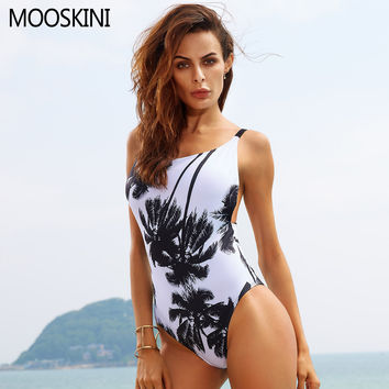 2017 New Sexy Halter Straps Women Swimwear Palm Trees Printed One Piece Swimsuit Bathing Suits Plus Size Bodysuits