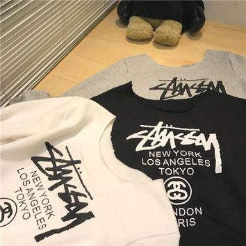 Stussy Women Print Off Shoulder Top Shirt Pullover Sweater