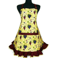 Grapes and Wine Labels, Retro Style Kitchen Apron