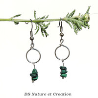 Handmade earrings, malachite jewelry, green stone earrings, natural stone jewelry, green malachite earrings, handmade jewelry, pagan ylic