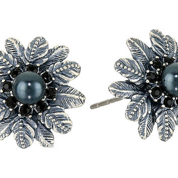Marc Jacobs Dark Plumes Pearl Studs Earrings