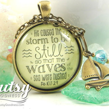 He Caused the Storm to Be Still Scripture Necklace She Stood in the Storm Special Needs Mom Encouragement Gift