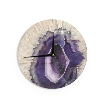 "Sylvia Cook ""Purple Quartz"" Lavender White Wall Clock"