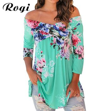 Rogi Plus Size Tops 2017 Fashion Floral Print Blouses Off Shoulder Shirt Women Drape 3/4 Sleeve Blouses Top Blusas Camisas Mujer