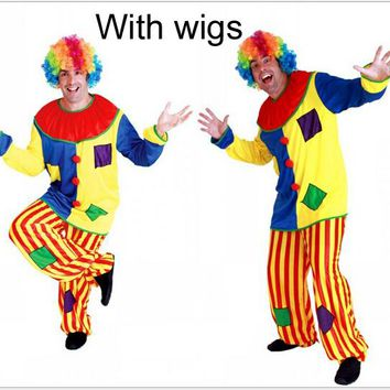 Cosplay adult party Clown costume including clown clothe trouse colorful wig C30126