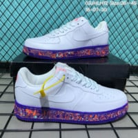 DCCK N138 Nike 2018 Air Force 1 Low Leather Causal Skate Shoes White Blue Orange