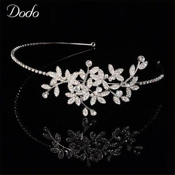 CREYCI7 Fashion Austrian Crystal Tiara Bridal Headdress Headpieces Elegant Leaf Wedding Rhinestone Hair Jewelry Accessories Crown HF19