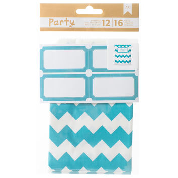 DIY Party Treat Bags & Labels-Blue & White
