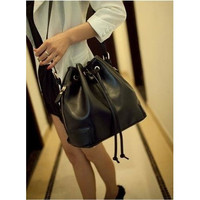 leather bucket bag small drawstring handbag handmade
