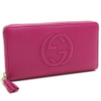 DCCKUG3 Gucci Soho Large leather zip around wallet Pink Bright Bouganvillia New