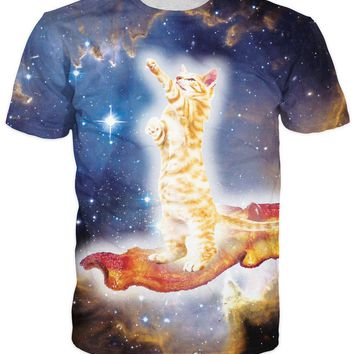 Galaxy Cat And Bacon All Over Print T-Shirts - Men's Novelty T-Shirts