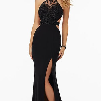 Long High Neck Jersey Open Back Prom Dress