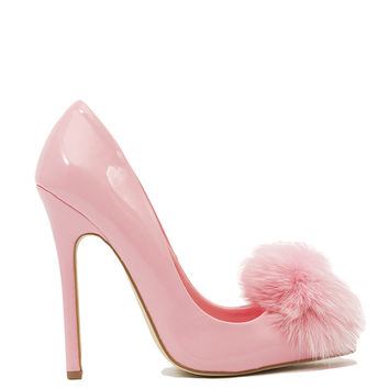 Privileged by J.C. Dossier Playboy Pointed Toe Pom Pom Pumps - Pink Patent