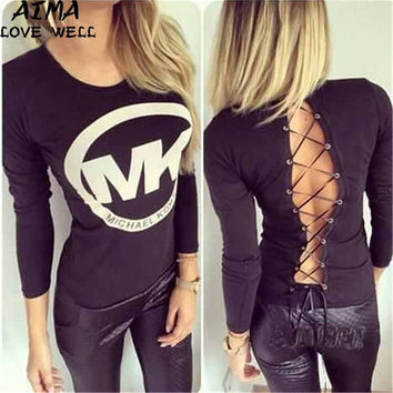 New Fashion Summer Sexy Women T-shirt Round Neck Long Sleeves Back Lace-up Tops Letters Print  Size large size