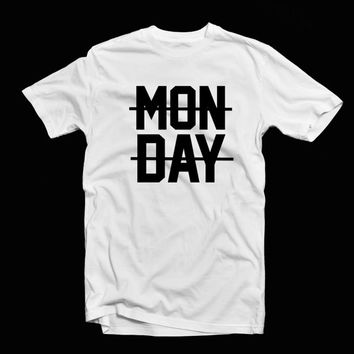 Monday sucks Niall Horan- Monday crossed out White unisex T-shirt with black writing or Black tee with white writing