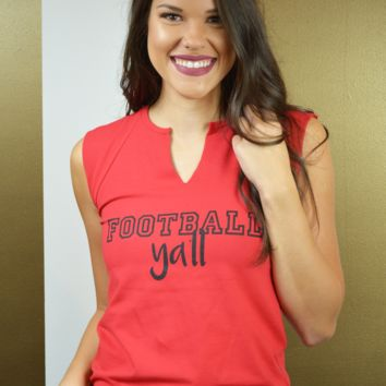 hey y'all football cutoff tank - red