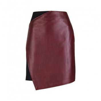 CARVEN Paneled leather skirt