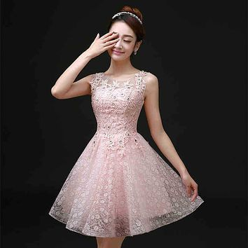 Sweet Cocktail Dresses 2016 New Bride Married Banquet Pink Lace Short Prom Dress Plus Size Party Formal Dresses