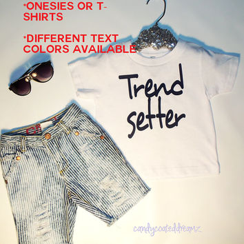 Trendsetter Tshirt or Onesuit baby toddler kids swag trendy hip hipster sneaker bling distressed denim jeans aviator