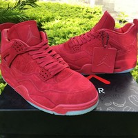 KAWS x Air Jordan 4 Red Unisex Leather Basketball Sneaker