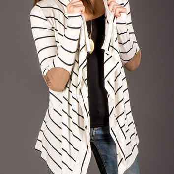 White Stripe Long Sleeve Fall Cardigan