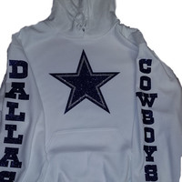 Cowboys Glittery Unisex Hoodie , super shinny  sparkle wont flake  Texas Dallas Women  will love it!!