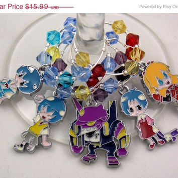 Neon Genesis Evangelion inspired wine glass charms set of 5 anime charms handmade wine charms party chibi JPOP wine charms