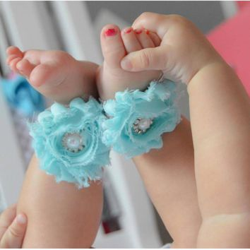 Fancy Teal and White on Gray Lace Baby Girl Headband and Barefoot Sandal Set or Just t