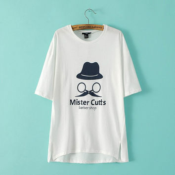 DT168 New Fashion Ladies' stylish hat mustache letter print T shirt cute O neck short sleeve split cool shirts casual brand tops