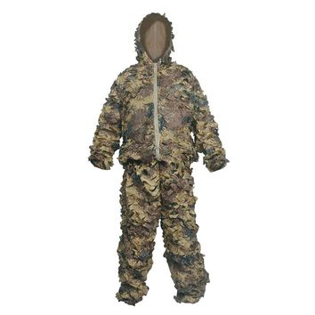Outdoor Military Camouflage Ghillie Suits Mesh+Polyester Uniform 2 Pieces Ghillie Suits Hunting Clothing Military Ghillie Suits