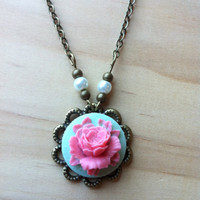 Pink on Light Blue Blossoming Rose Doily with Pearls Necklace