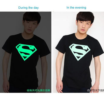 Korean luminous Superman short sleeve t-shirt men's clothes - bottoming shirt couples dress = 1946128964