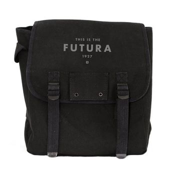 Futura Backpack, Canvas Backpack, Rucksack, Travel Backpack, Festival Backpack, Typography (Black & Green) Men's Backpack, Women's Backpack