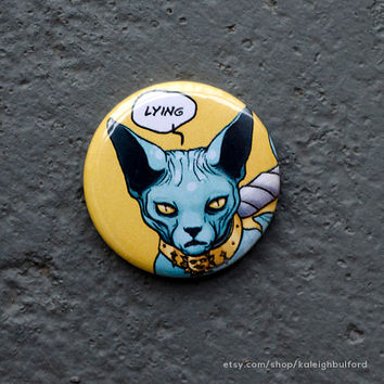 "1.25"" Saga Lying Cat Pinback Button or Ceramic Magnet - Saga Comic - Comic Book Buttons - Graphic Novel Badge - Nerdy Pins"