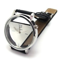 BESSKY Unisex Unique Hollowed-out Triangular Dial Watch
