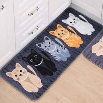 1PCS Hallway Welcome Floor Mats Animal Cute Cat Print Bathroom Kitchen Carpet House Doormats Living Room Anti-Slip Tapete Rug