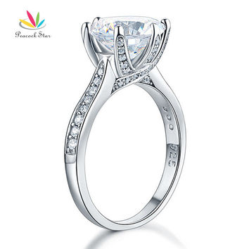 Clear 4 925 Sterling Silver Luxury Wedding Anniversary Engagement Ring 3 Carat Created Diamond Jewelry Free Shipping CFR8228