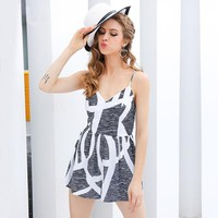 Geometric Print Strap Jumpsuit Romper Streetwear V Neck Sleeveless Backless Summer