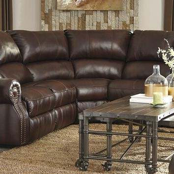 5 pc collinsville collection chestnut colored leather match sectional sofa with three recliners