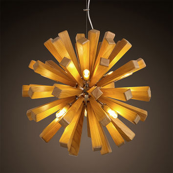 Creative Wood Lamp Chandeliers Modern Wooden Chandelier G9X10 Bulbs Kitchen/Dinning Room Hanging Light D55Cm Ac100-240V
