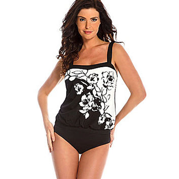 Miraclesuit Sub Rosa Floral Placement-Print Blouson Tankini Top - Blac