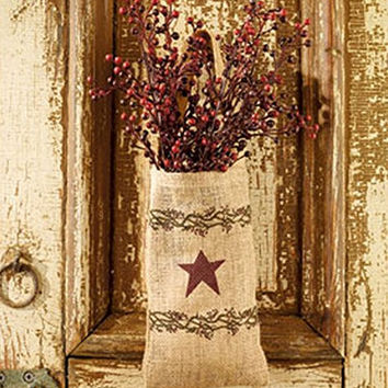 Vintage Berries & Burgundy Star Hanging Burlap Bag Gift Set with Berry Bush - (4-in x 7-in)