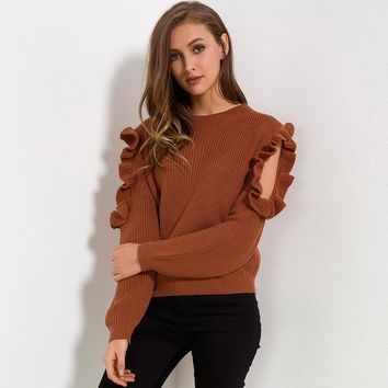 Cold Off Shoulder Ruffle Long Sleeve Knitted Sweater