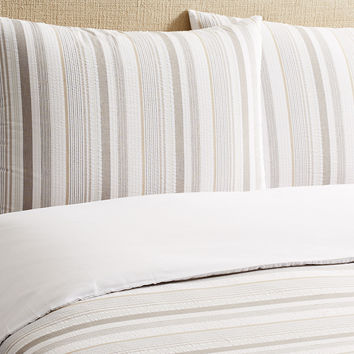 Seersucker Duvet Set, Neutral, Duvet Cover Sets