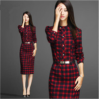 XXL 2016 New Ladies Office Wear Work Outfits Autumn Winter Long Sleeve Dresses British Elegant Plaid Bodycon Dress Women