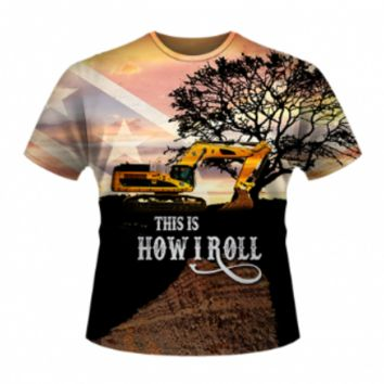 This Is How I Roll - Excavator All Over T-Shirt by Dixie Outfitters®