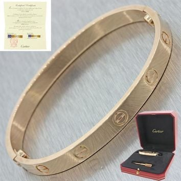 NEW 2017 Cartier 18K Rose Gold New Style Screw Love Bangle Bracelet Size 17