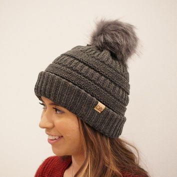 Solid Knit Beanie W/ Faux Fur Pom